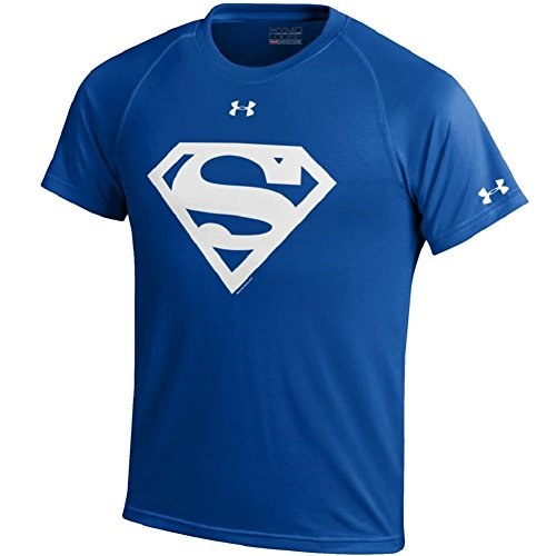 Under Armour Youth-Alter Ego-Superman-Nutech Performance T-Shirt-Royal/White Shield-Small