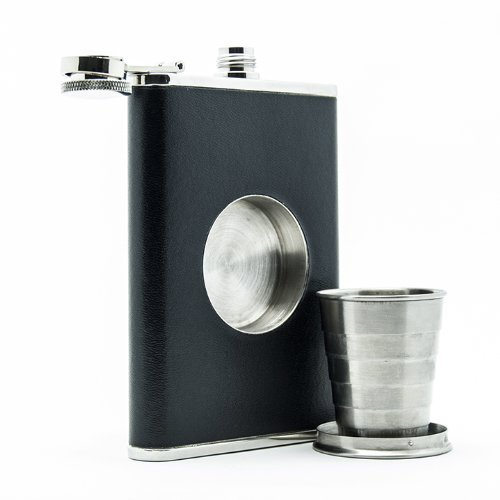 The Original Shot Flask - 8oz Hip Flask with a Built-in Collapsible Shot Glass - Stainless Steel with Premium Bonded Leather Wrapping, Garden, Haus, Garten, Rasen, Wartung