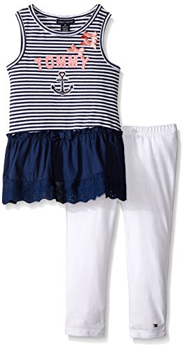 Tommy Hilfiger Big Girls' Yarn Dyed Stripe Tunic with Eyelet Trim and Leggings, Blue, 3T