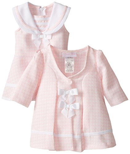 Bonnie Baby Baby-Girls Newborn Pink Houndstooth Coat and Dress Set