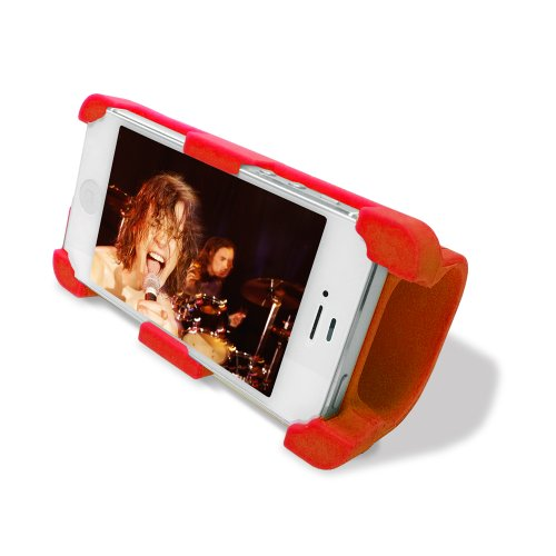 Datexx Instage Iphone Silicone Stand And Acoustic Amplifier For Iphone 4/4S, Red - Speakers - Retail Packaging - Red
