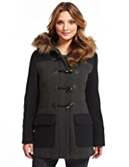 Indigo Collection Wool Blend Colour Block Duffle Coat