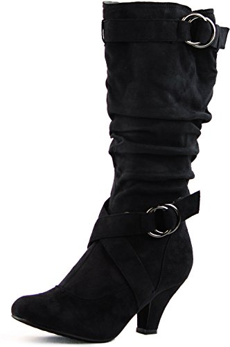 Women's Lala-02 Buckle Straps Low Heel Casual Trendy Round Toe Mid Calf Knee High Boots