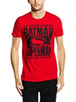 DC COMICS Camiseta Manga Corta Gotham Guardian (Rojo)
