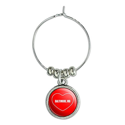 Wine Glass Charm Drink Marker I Love Heart City State A-B - Baltimore MD (Party City Baltimore Md)