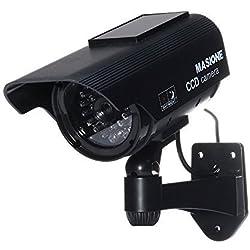Masione® Telecamera finta Con Pannello Solare Falsa Dummy Camera Sorveglianza da esterno CCD Fake Camera (A49-Argento)