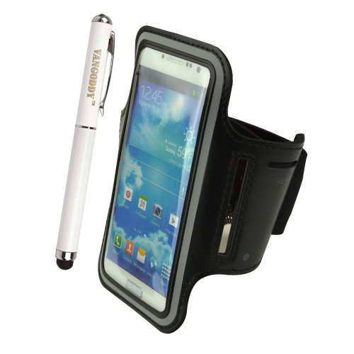 Universal Neoprene Workout Armband For Motorola Moto X Moto G / Nokia Lumia 1020 925 928 / Iphone 5 5S (Black) + Vangoddy Stylus Pen ,White