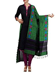 Unnati Silks Women Green Pure Handloom Ghicha Tussar Silk dupatta