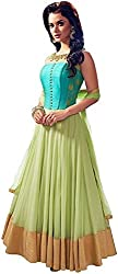 Om sai fashion Frock Pista Color Soft Net, Tapeta & Silk Embroidered Semi-stitched Free Size Anarkali dress with duppta