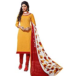 Manthan Chanderi Yellow Embroidered Women's Chudidar Suit MNTKFCDDRD360016