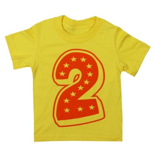 Happy Family 2Nd Superstar Second Birthday Yellow T Shirt (2/3 T, Yellow)
