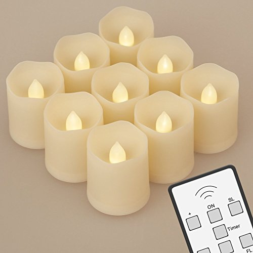 Set of 9 Battery Operated LED Flameless Candles with Remote Control Extended Light Time Dimmable for Birthday Parties Weddings Festivals Decorations Christmas Votive Candles (Car Remote Batteries Cr2450 compare prices)