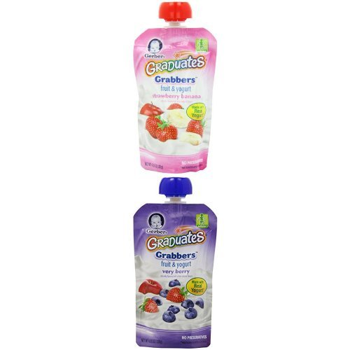 Gerber Graduates Grabbers, Fruit and Yogurt Bundle,  4.23 Ounce Pouches, 24 Count - 1