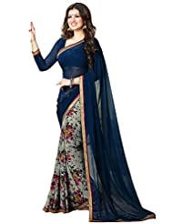 Vivera Superb Georgette Half&Half Saree With Embroidery Blouse Piece.(A2_Blue)