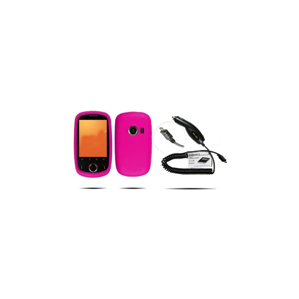 HOT PINK Silicone Skin Case / Rubber Soft Sleeve Protector Cover + premium Plug in Car Travel Charger With IC Chip Inside For Huawei M835 (Metropcs) + Live My Life Wristband.