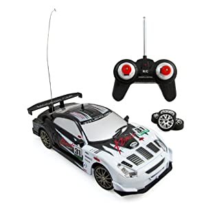 Super Fast Drift King R/C Sports Car Remote Control Drifting Race Car 1:24 + Headlights, Backlights, Side Lights + 2 Sets of Tires