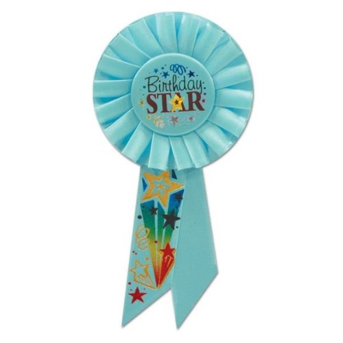 Beistle RS167 Birthday Star Rosette, 3-1/4-Inch by 6-1/2-Inch