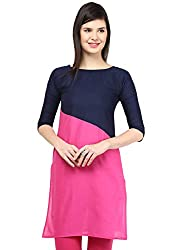 Awesome Fab Dark Blue Color Cotton Fabric Women's Straight Kurti
