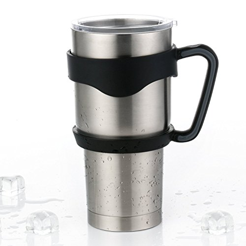 SPINEX Handle for Yeti Rambler 30 oz Tumblers, Sic Cup, Rtic and More - High Quality, Anti Slip and Easy Grip (Black Handle Only)