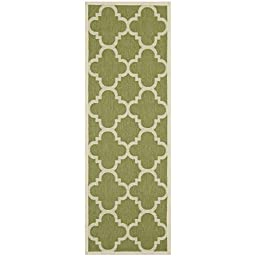 Safavieh Courtyard Collection CY6243-244 Green and Beige Indoor/ Outdoor Runner, 2 feet 3 inches by 10 feet (2\'3\