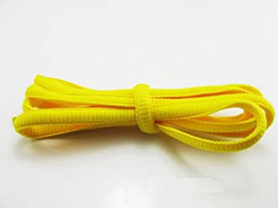 """2 Pairs Neon Oval Shoe Laces Trainer 22colour 110cm 43"""" (Yellow)"""