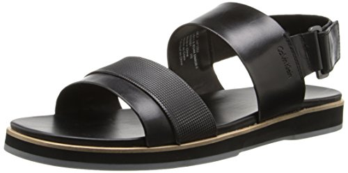 Calvin Klein Men's Dex Stud Emboss Leather Dress Sandal, Black, 10 M US - 1
