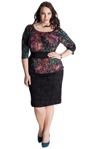 Igigi Women'S Plus Size Nicolette Peplum Dress In Coral Reef 14/16