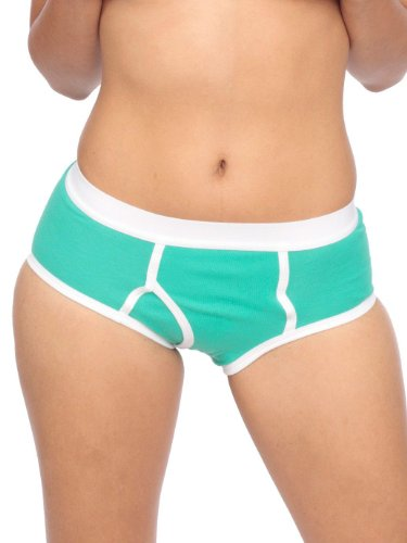 American Apparel Unisex Baby Rib Brief X-Large-Aqua White man panties
