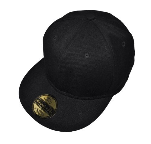 New Plain Black Flat Peak SnapBack Baseball Cap
