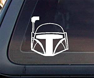 Boba Fett Helmet Car Decal / Sticker - White