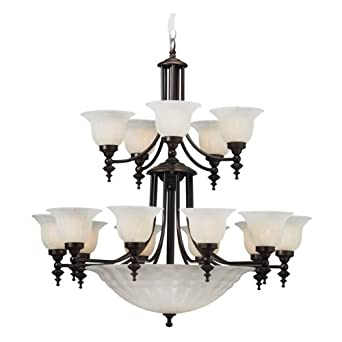 Dolan Designs 668-30 15+5 Light Up / Down Lighting Chandelier from the Richland Collection, Royal Bronze