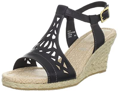 Rockport Women's Emily Laser Cut T-Strap Sandal, Black, 8.5 M US