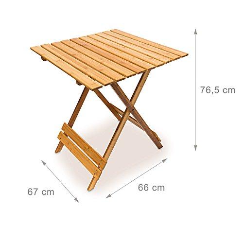 relaxdays klapptisch bambus b x h x t 76 5 x 67 x 66 cm. Black Bedroom Furniture Sets. Home Design Ideas