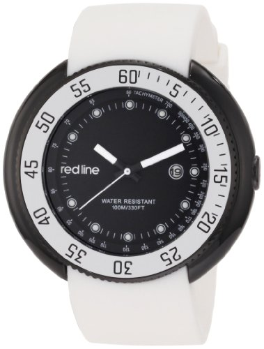 Red Line Driver 50039-BB-01-WHT 50 Stainless Steel Case White Band Mineral Men's Quartz Watch