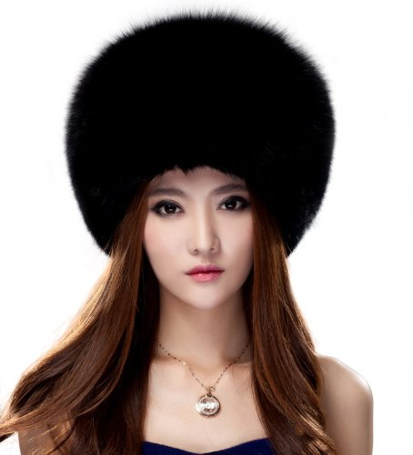 Women's Mongolia Fox Fur Ushanka Hats Multicolor (Black)