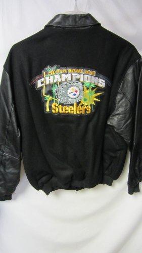 Leather steelers jacket