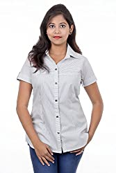 Juee Women's Striped Casual Shirt (JU104SY5HFWHT) (Large)