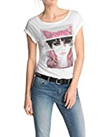 Edc By Esprit 035Cc1K002 - T-shirt - Uni - Col ras du cou - Manches courtes - Femme