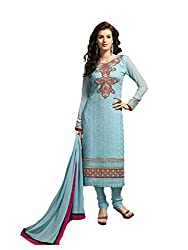 FadAttire Embroidered Pure Bambr Suit, Semi Stitched Suit-Blue-FAKM08