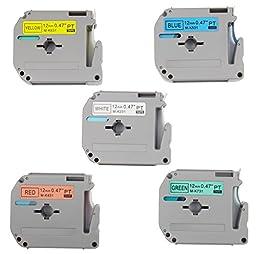5PK Onirii Compatible M Series Tape Cartridges for P-Touch Combo Set M231 M431 M531 M631 M731 1/2\