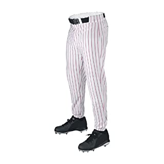 Wilson Sporting Goods Youth Deluxe Poly Warp Knit Pinstripe Baseball Pant, X-Large, White with Scarlet