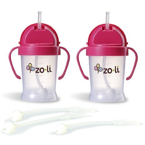 Zoli BOT Sippy Cups - Pink (2 Pack) WITH 3 BOT Replacement Straws.