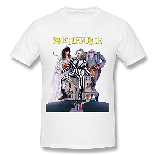 Men's Beetlejuice Dvd Cover T-shirt - White - Eco-Friendly Ink - XS to XXL