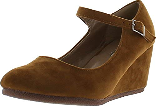 08. Forever Link Womens Patricia-05 Mary Jane Strap Faux Suede Wedge Pumps