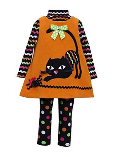 Bonnie Jean Little Girls' Orange CAT Applique Fleece Jumper Leggings 3-pc set