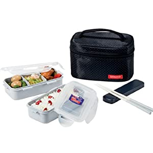 Lock & Lock Rectangulaire Lunch Box Bento Set-HPL752DB, Black