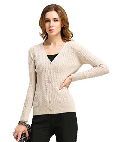 Miuk da donna, 100% Cashmere Cardigan a maniche lunghe, con scollo a V, con cavo beige Medium