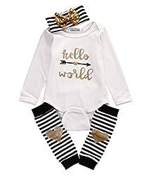 Toddler Baby Boy Girl Romper Long Sleeve Bodysuit Word Print Leg Warmers Outfits (6~12months)