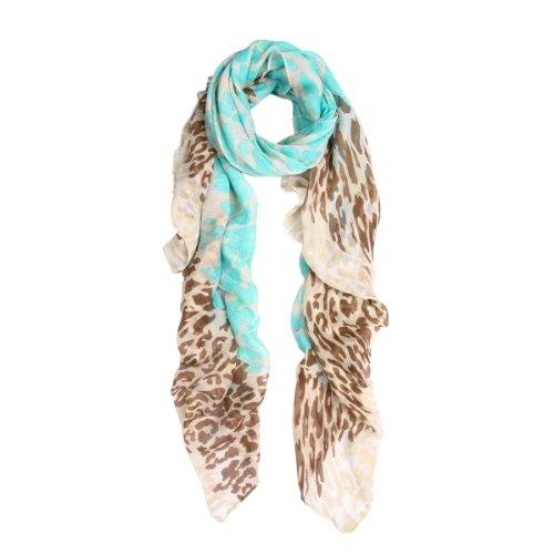 Premium Spot Leopard Multi Tone Animal Print Scarf, Light Blue
