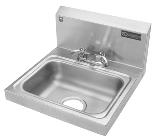 Griffin H30-224C Hand Wash Wall-Mounted Sink with Faucet, Stainless Steel